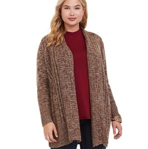 Torrid Marled Brown Cable Knit Cardigan